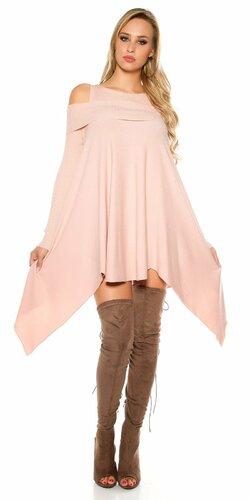 Pletené asymetrické mini šaty | Bledá ružová