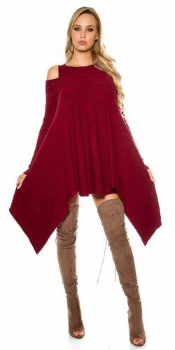 Pletené asymetrické mini šaty Bordová