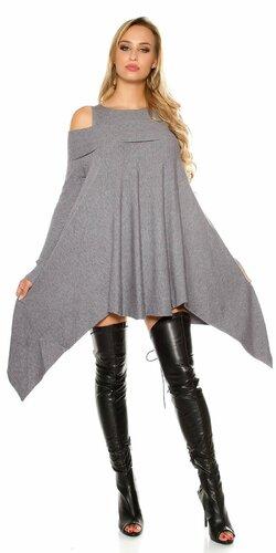 Pletené asymetrické mini šaty Šedá