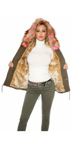 Dámska bunda s farebnou umelou kožušinou Ružová