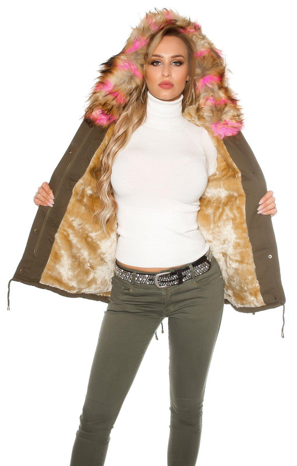 Dámska bunda s farebnou umelou kožušinou Ružová d2a45705184