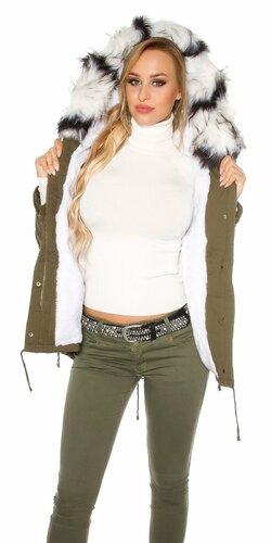 Dámska bunda s farebnou umelou kožušinou Biela