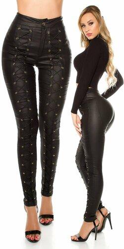 Značkové vyvýšené nohavice koženého vzhľadu Čierna