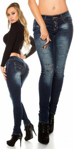 Džínsy s trhlinami a čipkou | Modrá