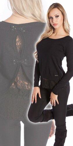 Čipkovaný KouCla sveter | Čierna