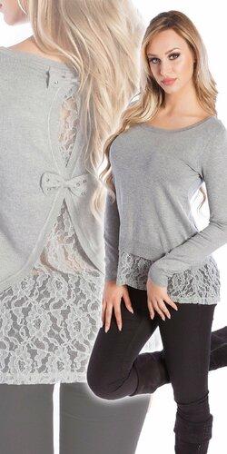 Čipkovaný KouCla sveter | Šedá