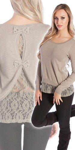 Čipkovaný KouCla sveter | Béžová