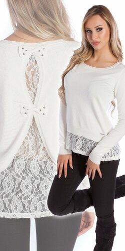 Čipkovaný KouCla sveter | Biela