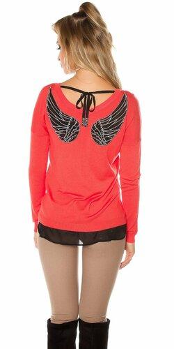 Dámsky sveter s vyobrazenými krídlami | Koralová