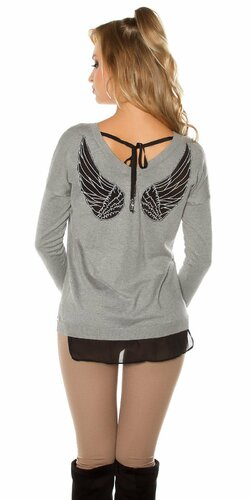 Dámsky sveter s vyobrazenými krídlami | Šedá