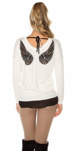 Dámsky sveter s vyobrazenými krídlami | Biela
