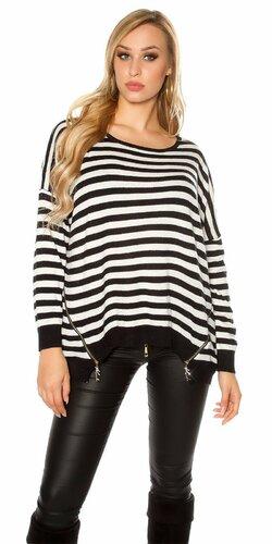 Oversize pruhovaný sveter so zipsami Čierna
