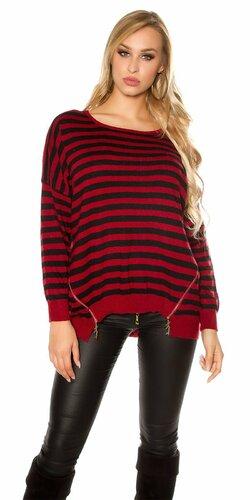 Oversize pruhovaný sveter so zipsami | Bordová