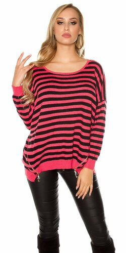 Oversize pruhovaný sveter so zipsami | Koralová