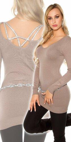 Klasický dlhý sveter s kamienkami na zadnej strane | Cappuccino