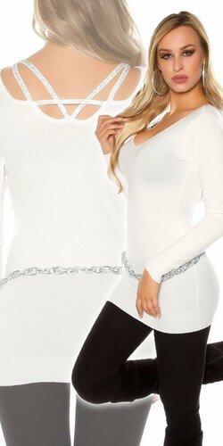 Klasický dlhý sveter s kamienkami na zadnej strane | Krémová