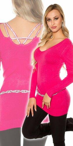 Klasický dlhý sveter s kamienkami na zadnej strane | Ružová