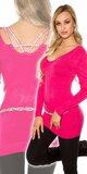 Klasický dlhý sveter s kamienkami na zadnej strane Ružová