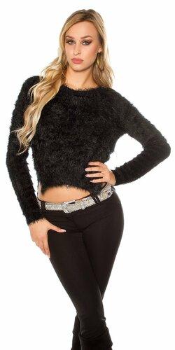 Krátky jemný sveter Čierna