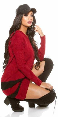 Oversize sveter s kapucňou | Bordová