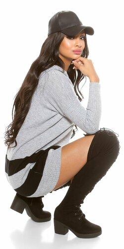 Oversize sveter s kapucňou | Šedá