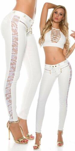 Dámske nohavice koženého vzhľadu s krásnou čipkou | Biela