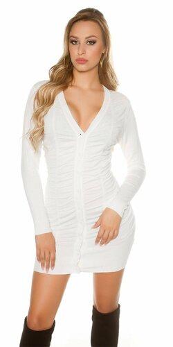 Pletené šaty s gombíkmi | Biela