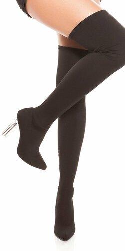 Lodičky nad kolená na priesvitnom podpätku