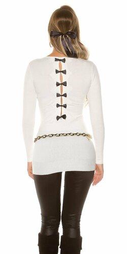 Dlhý sveter s mašľami (Krémová)