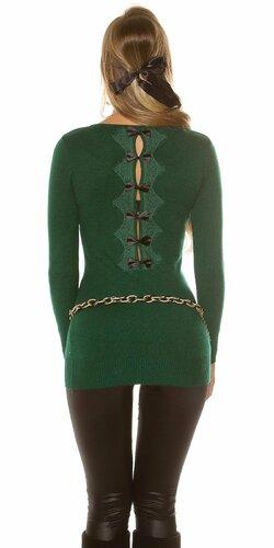Dlhý sveter s mašľami | Zelená