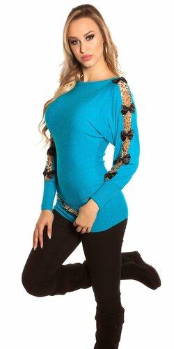Pulóver s leopardími vzormi na rukávoch | Tyrkysová