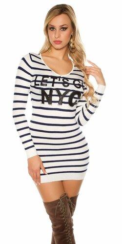 Dlhý sveter ,,Let s go NYC,, | Biela