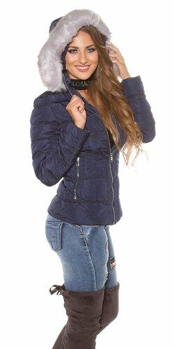 Dámska zimná bomber bunda Tmavomodrá