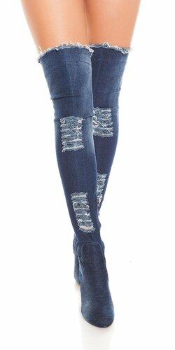 Čižmy džínsového vzhľadu s rozparkami Modrá
