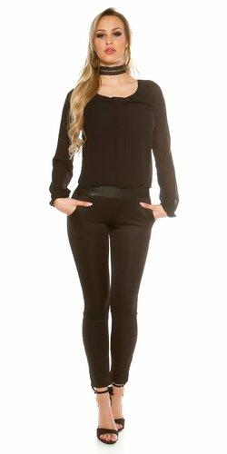 Elegantný dámsky blúzkový overal | Čierna