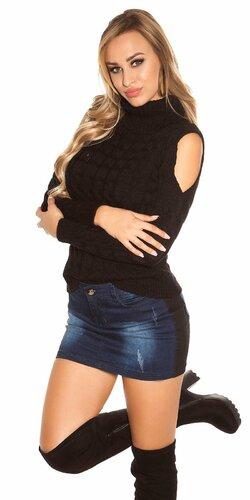 Moderný sveter s odhalenými ramenami | Čierna