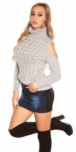Moderný sveter s odhalenými ramenami | Šedá