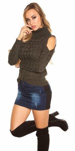 Moderný sveter s odhalenými ramenami | Khaki