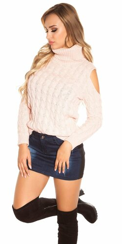 Moderný sveter s odhalenými ramenami | Bledá ružová