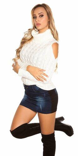 Moderný sveter s odhalenými ramenami | Biela