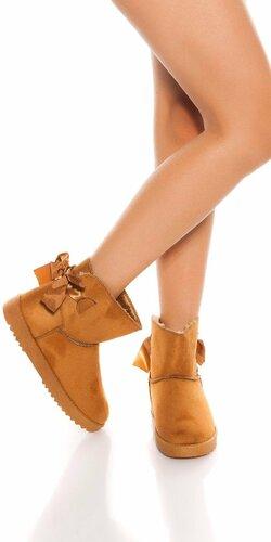 Zimné členkové topánky Karamelová