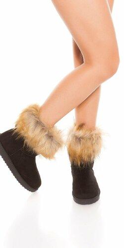 Zimné topánky s umelou kožušinou Čierna