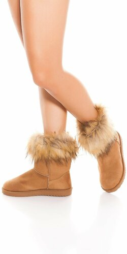 Zimné topánky s umelou kožušinou Cappuccino