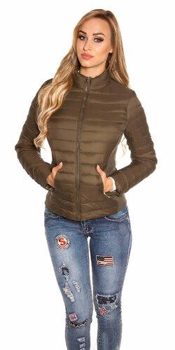 Prešívaná dámska bunda s golierom (Khaky)