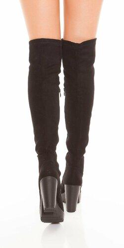 Čierne čižmy s hrubým podpätkom Čierna