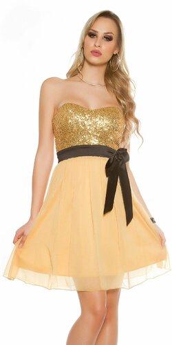 Dámske flitrované koktejlové šaty Zlatá