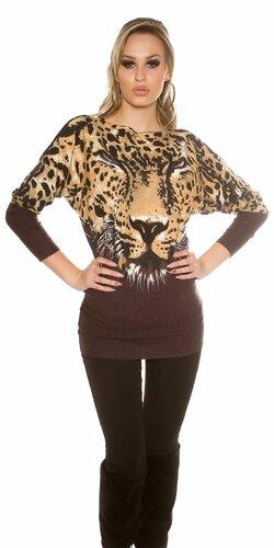 Dámsky leopardí sveter KouCla   Hnedá