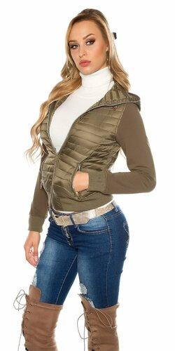 Štýlová prešívaná bunda s kapucňou Khaky