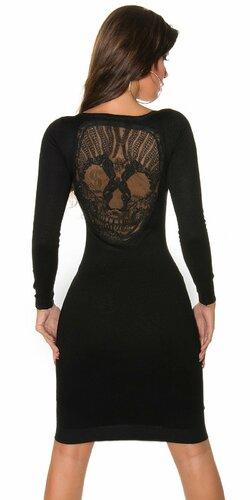 Pletené šaty s čipkovanou lebkou na chrbte | Čierna