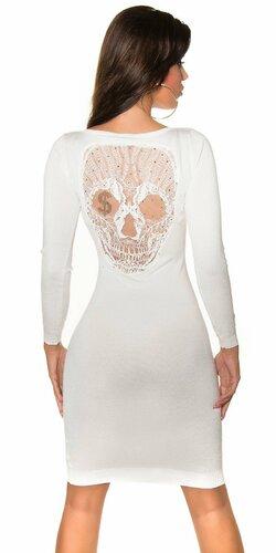 Pletené šaty s čipkovanou lebkou na chrbte Krémová